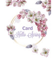lilac flowers wreath card watercolor vector image vector image