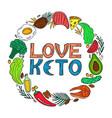love keto - hand drawn inscription ketogenic diet vector image vector image