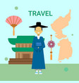 man wearing national korean dress over south korea vector image