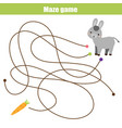 maze game animals theme help donkey find carrot vector image