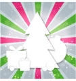Merry Christmas paper tree design greeting card vector image