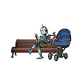 mom robot resting in park with a bastroller vector image vector image