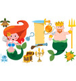 neptune and mermaid banner from an old parchment vector image vector image