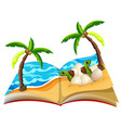 open book of turtle hatchlings vector image vector image