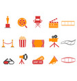 orange and red color series movies icons set vector image