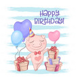 postcard cute pig with balloons cartoon style vector image