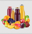 realistic fruits and juices isolated on vector image vector image