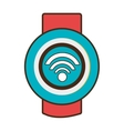 red and blue watch with media icon on the screen vector image vector image