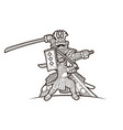 samurai warrior with weapon ronin action vector image vector image