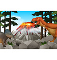 Scene with dinosaurs and volcano vector image vector image