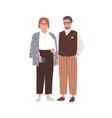 senior couple modern man and woman in eyewear vector image vector image