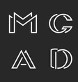 set logo m d a g letters monograms logos group vector image