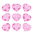 set of pink hearts isolated on blue green vector image