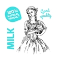 sketch of milkmaid vector image