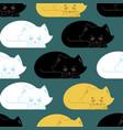 sleeping cat pattern kitten be asleep seamless vector image vector image