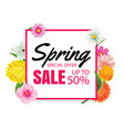 spring sale banner card template with colorful vector image