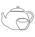 tea set one line drawing concept vector image vector image