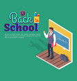 teacher standing near blackboard on grammar lesson vector image vector image