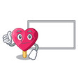 thumbs up with board chocolate heart on ice cream vector image vector image