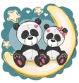 Two Pandas on the moon vector image vector image