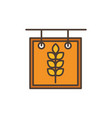 wheat board oktoberfest icon line filled vector image vector image