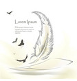 writing old feather with flying birds vector image vector image
