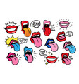 youth lips stickers patches in 70 s 80 s pop art vector image