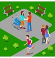 Disabled Woman on Wheelchair Isometric People vector image