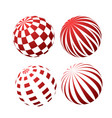 3d spheres with patterns - stripy and checked vector image vector image
