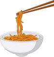 asian traditional food with noodles and chopsticks vector image