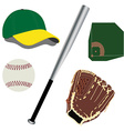 Baseball field ball glove hat and bat vector image vector image