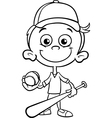 boy baseball player coloring page vector image vector image