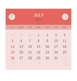 Calendar monthly july 2015 in flat design vector image vector image