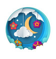 cartoon paper night landscape moon star cloud vector image vector image