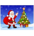 Cartoon Santa clause with Christmas tree vector image