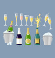 champagne bottle and glasses set of cartoon vector image vector image