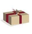 christmas box on white vector image vector image