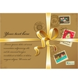 Christmas gift with gold ribbon and vintage vector image vector image