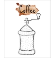 Coffee grinder sketch The inscription of coffee vector image