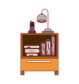 colorful graphic of nightstand with cordless phone vector image vector image