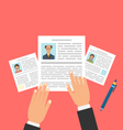 Concept of Job Interview with Business CV Resume vector image vector image