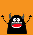 cute black silhouette monster face happy vector image vector image