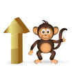 cute chimpanzee little monkey and top up mark vector image vector image