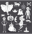 cute doodle halloween ghost line art vector image vector image