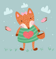 cute fox flower love and heart vector image
