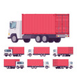 euro truck with red metal container vector image vector image