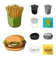 fast food cartoonblackflatmonochromeoutline vector image vector image