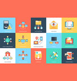 flat icons set of internet technology and security vector image vector image