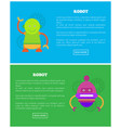 friendly robots for human help internet pages set vector image vector image