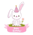 Happy Birthday card with a bunny vector image